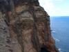 Blick auf Klippe mit Vulkanschloten