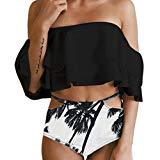PINEsong Damen Bandeau High Waist Bikini Set Bademode Swimwear Sexy Off-Shoulder Swimsuit Beachwear Weg von der Schulter Tankini mit Volant Zweiteiler Badeanzug Strandmode