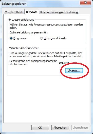 Crucial M4 SSD Konfiguration Windows 7 Auslagerungsdatei