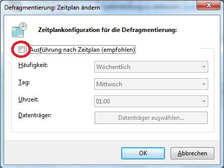 Crucial M4 SSD Konfiguration Windows 7 Defragmentierung
