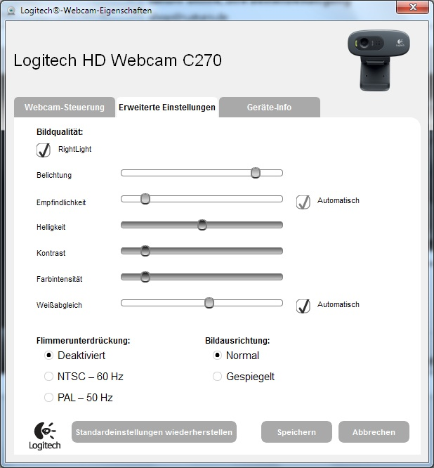 Windows7 C270 WebcamSoftware Erweiterte Einstellung Flimmerunterdrückung
