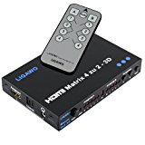 Ligawo ® HDMI Matrix 4x2 - Pro 1080p 3D - 4 Eingänge an 2 Ausgänge + Audio SPDIF / 3.5mm