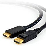 2m Full HD Premium Displayport (DP) auf HDMI Kabel High Speed inkl. Audio-Übertragung | 1080p | Displayport (Stecker M) zu HDMI (Stecker A) | zertifiziert | Apple und PC