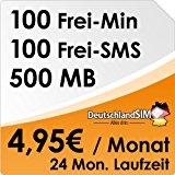 DeutschlandSIM ALL-IN 100 [SIM & Micro-SIM] - 24 Monate Vertragslaufzeit (500MB Daten Flat, 100 Frei-Minuten, 100 Frei-SMS, 4,95 Euro/Monat, 19 ct Folgeminutenpreis) O2-Netz