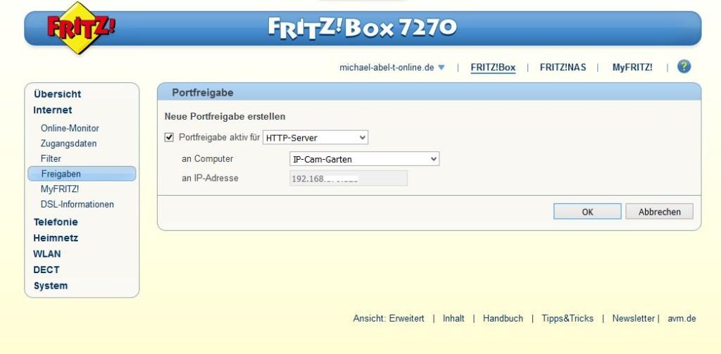 FritzBox Portfreigabe