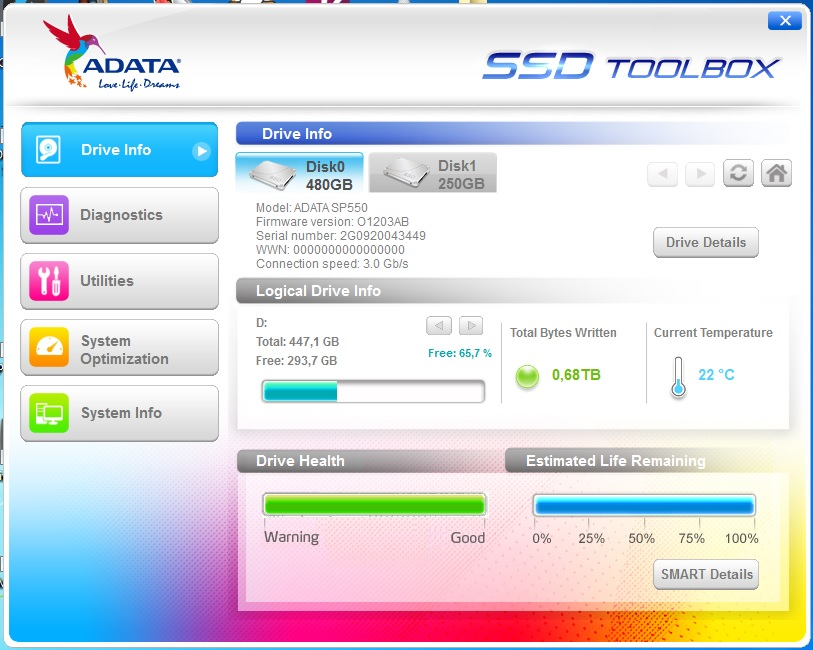 ADATA SP550 SSD 480 GB