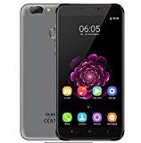 OUKITEL U20 Plus - 5,5 Zoll IPS Bildschirm 1,5 GHz Quadkern 13MP Doppelobjektivkamera 2GB RAM 16GB Android 6.0 4G Smartphone Fingerabdruck-Sensor 3300mAh - Grau