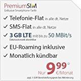 PremiumSIM LTE 2000 [SIM, Micro-SIM und Nano-SIM] monatlich kündbar (3 GB LTE mit max. 50 MBit/s inkl. Datenautomatik, Telefonie-Flat und SMS-Flat, EU-Roaming inklusive, 9,99 Euro/Monat)